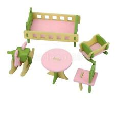 DOLLHOUSE Miniature Colored Wooden Nursery Room Furniture Set 5pc For Kids Craft