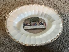 Religious Last Supper Plate w/ Antique Gold Metal Filigree Vintage