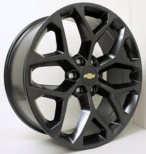 "New 20"" Chevy Black Snowflake Wheels Rims Silverado Tahoe Suburban Avalanche"