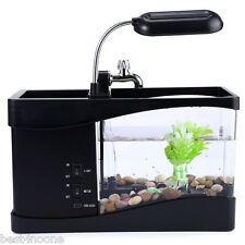 5V USB Desktop Electronic Aquarium Mini Fish Tank LED Pump Light Calendar Clock