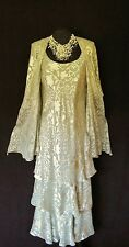 CATTIVA Size 12 Grey & Creamy Gold Ladies Designer Wedding Dress & Jacket Outfit