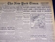 1943 JULY 5 NEW YORK TIMES - R. A. F. RIPS COLOGNE FORTS RAID FRANCE - NT 1901