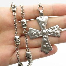 Vtg 925 Sterling Silver Large Cross Skull Bead Handmade Rosary Necklace 20""