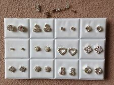 JOBLOT-12 pairs of different styles crystal  diamonte stud earrings.