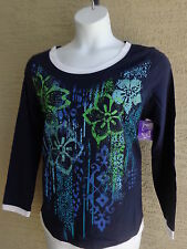 NWT Just  My Size L/S Scoop Neck Glitzy Graphic Twofer Tee Top Navy Multi 3X