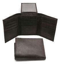 Trifold Genuine Leather Brown Compact Wallet  With Zipper Pocket 12 Card Pockets