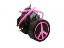 BLACK CYBER RESPIRATOR MASK SPIKES PINK TUBING PEACE RAVE GOTH STEAMPUNK
