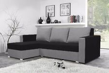 CORNER SOFA BED/ NEW/ FABRIC BLACK AND GREY. MODERN. WITH STORAGE.