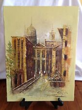 "Vintage Oil Painting Yellow Gold City Scene Signed Cooper 16"" x 12"" Vertical"