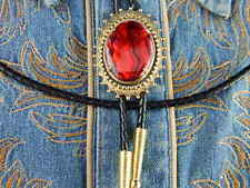NEW HANDCRAFTED RED ABALONE  BOLO TIE GOLD METAL LEATHER CORD,GOTH,WESTERN