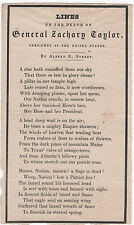 1850 LINES On The Death of General & President Zachary Taylor by Alfred B Street