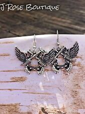 WESTERN WINGS ANGEL  GUNS PISTOLS CROSS EARRINGS COWGIRL RODEO CONCEALED CARRY