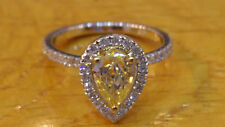 1.00CT Yellow & White Diamond 14k White Gold Over Engagement Vintage Halo Ring