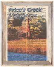 Price's Creek Lighthouse NC Altered Art Print Upcycled Vintage Dictionary Page