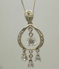 "9ct white gold 17"" curb chain with diamond dream catcher shaped pendant 375"