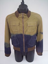 cappotto ,roberto cavalli, cotone beige e blue marrone ,tg 50