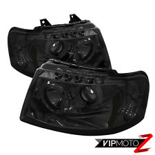 2003-2006 Ford EXPEDITION New Twin Halo Projector Smoke LED Headlight Lamp Set