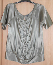 Marks & Spencer Limited Collection Khaki Satin Style Detailed Top size 8