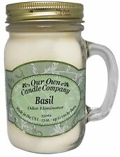 Basil Scented Odor Eliminator Candle in 13oz Mason Jar by Our Own Candle Company