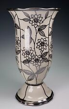 """Rosenthal China Silver Overlay Cream Large 8 5/8"""" Tall Vase - Amazing Condition"""