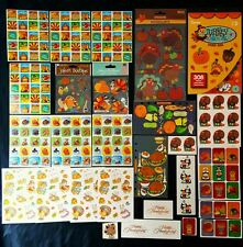 Lot Of Thanksgiving Scrapbook Stickers - Turkey Pilgrims Pumpkin Cornucopia