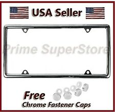 New Slim Chrome Metal License Plate Frame For Car Auto Truck Tag Cover + 4 Caps