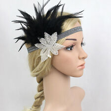 Diamond Vintage Feather Headband 1920'S Hair Band Boho Gatsby Flapper Headband W