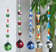5 Pcs Butterfly Crystal Suncatcher Ball Prism Hanging Pendant Home Decor 30MM