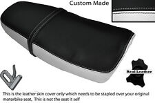 BLACK & WHITE CUSTOM FITS YAMAHA SRX 600 DUAL LEATHER SEAT COVER ONLY