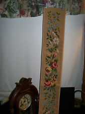"Vtg 62""X Long NEEDLEPOINT Bell Pull ROSES blue flowers WOOL COMPLETED satin back"