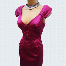 Exquisite Karen Millen Dark Pink Stretch Satin Pleat Peplum Pencil Dress 12 UK