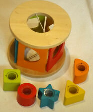 WOODEN SHAPE SORTER TOY & 5 RATTLE SHAPES WITH BEADS