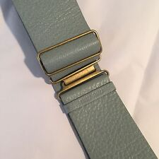 Miu Miu ( Prada ) Blue Gray Pebbled Leather Belt W/ Brass Buckle Small/medium