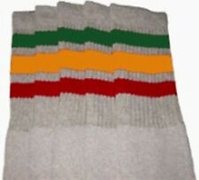 """25"""" KNEE HIGH GREY tube socks with GREEN/GOLD/RED stripes style 1 (25-55)"""