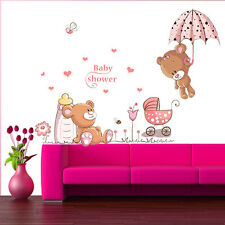 Teddy Bear Flowers Wall Sticker Decals Kids Nursery Baby Decor Removable