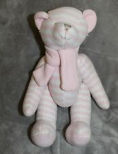 """11"""" Pink White Stuffed Knit Bear Hobby Lobby Jointed Plush W/Scarf"""