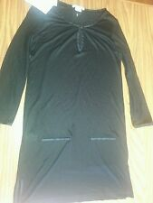 NWT Women's LACOSTE Black Long Sleeve Cover Up Viscose & Silk Dress $125.00