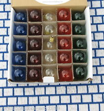 BOX of 25 CLEAR MIXED COLORS C7 base CHRISTMAS G12.5 LIGHT bulb Round Globe 10w