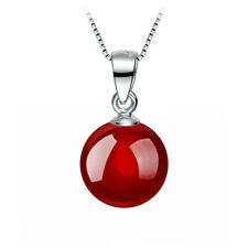 Agate Carnelian Pendant Necklace Black And Red Round Stone Women Fine Jewelry