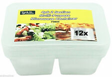 12 Disposable Plastic 2 Section Container Food Storage Take Away 750ml