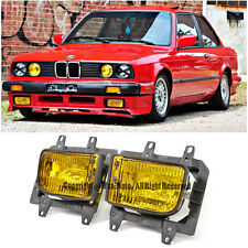 For 85-93 BMW E30 3-Series 2Dr Front Bumper Yellow OE Fog Lights Plastic Lens