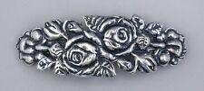 #8127 ANTIQUED SS/P 70MM DOUBLE ROSE DESIGN BARRETTE - 1 Pc Lot
