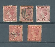 Antigua 1872-6  1d crown CC sg.13, 16, 17 used, Crown CA sg.26 MH and 25 pen can