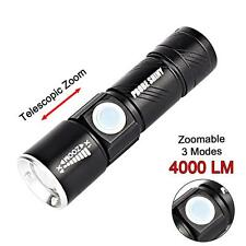Adjustable LED Zoom 4000 Lm Mini USB Rechargeable Flashlight Torch Lamp Light