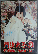 """Karate Kung Fu 1Sht INVISIBLE MONKEY FIST Chinese Movie Poster Film 21x30"""" 70s"""