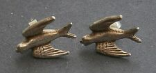 NC511) SMALL OLD VINTAGE 925 STERLING SILVER BIRD STUD EARRINGS MARKED SILVER ON