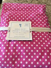 Pottery Barn Kids Hot Pink Mini Dot Twin Duvet Cover Girls Princess New Organic