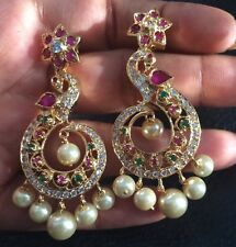 18k on4k Y gold Pearl Peacock ChandBali Baali Earrings Pachi Dangler Chandeliers