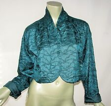 Eileen Fisher Green Blue Tussah Silk Quilted Bolero Cropped Jacket L