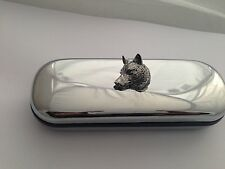 A66 Wolf Head Motif On a Chrome Glasses Case
